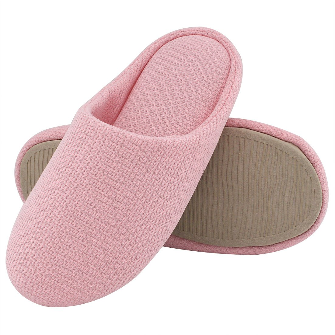 Women's Comfort Knitted Cotton Slippers Washable Flat Closed Toe Ultra Lightweight Indoor Shoes with Non-Slip Sole (Large / 9-10 B(M) US, Pink)