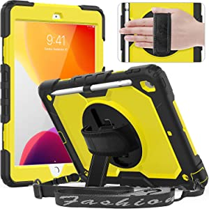 Timecity Case for iPad 8th/ 7th Generation, iPad 10.2 Case with Built-in Screen Protector Pencil Holder, Heavy Duty Protective Cover with 360°Rotatable Stand Adjustable Hand/ Shoulder Strap, Yellow