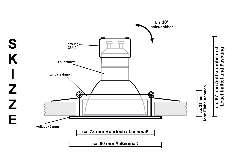 3er LED Einbaustrahler Set mit LED LED LED GU10 Markenstrahler von LEDANDO - 5W - schwenkbar - warmweiss - 60° Abstrahlwinkel - A+ - 50W Ersatz - quadratisch eckig - silber - gebürstet d292ff