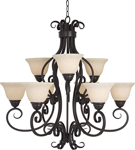 Maxim Lighting 12207FIOI Manor – Nine Light Two Tier Chandelier, Oil Rubbed Bronze Finish with Frosted Ivory Glass