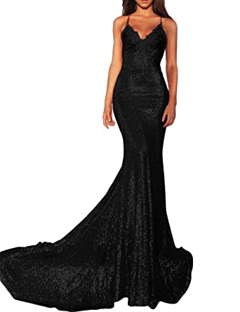 Elinadrs Women s Long Spaghetti Strap Mermaid Evening Gown Sleeveless Sequin  Prom Party Ball Gown 2 Black 4da43931c