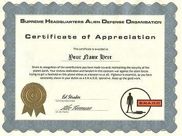 UFO Television Series SHADO Certificate of Appreciation