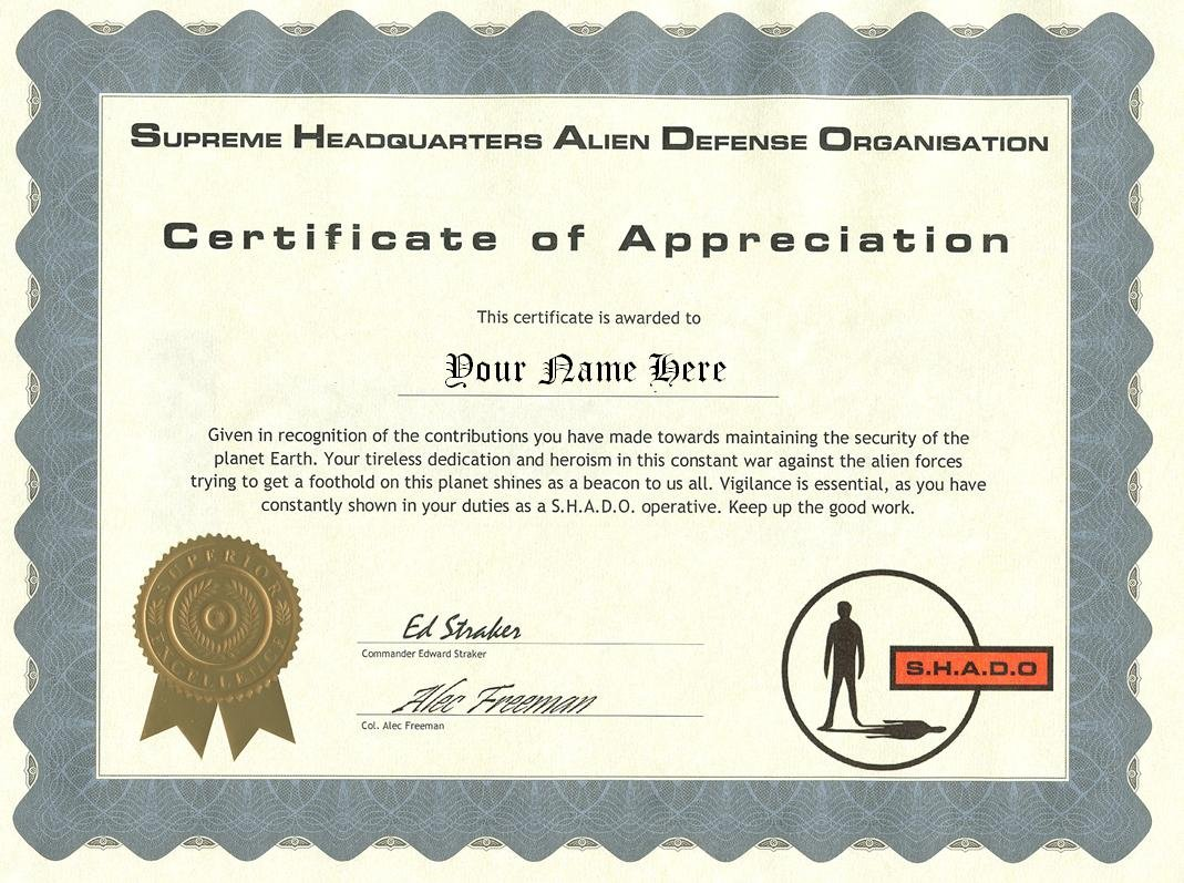 Amazon shado certificate of appreciation ufo television amazon shado certificate of appreciation ufo television series blank certificates office products yadclub Image collections