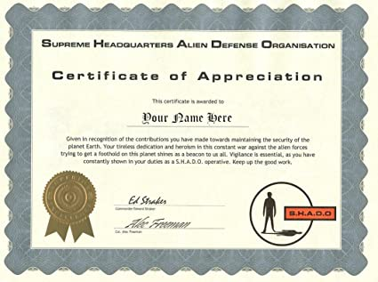 amazon com shado certificate of appreciation ufo television