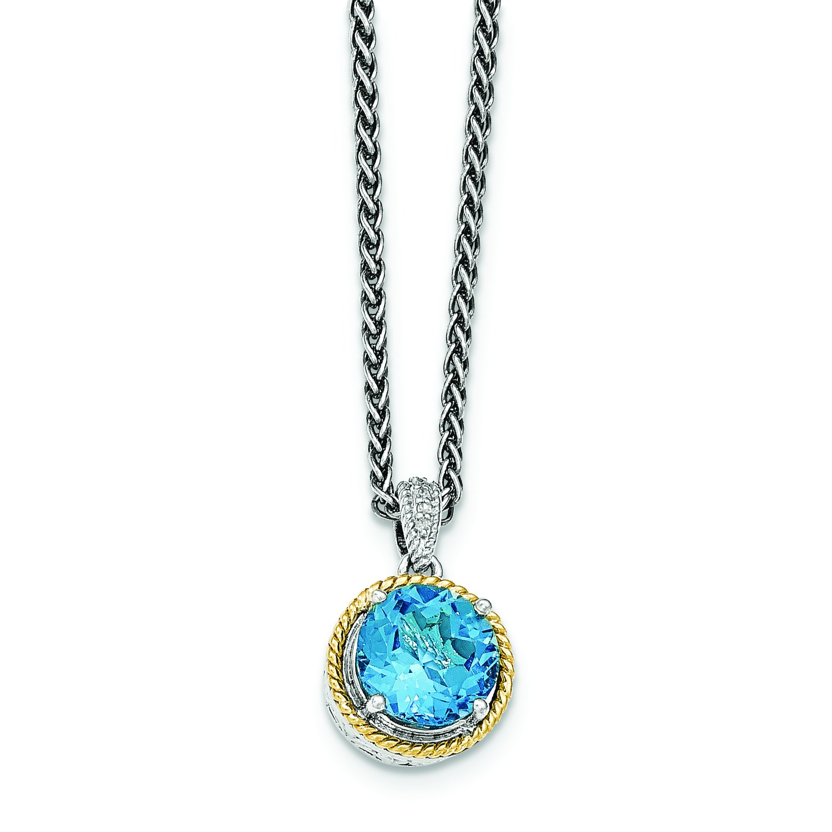 ICE CARATS 925 Sterling Silver 14ky Blue Topaz Chain Necklace Gemstone