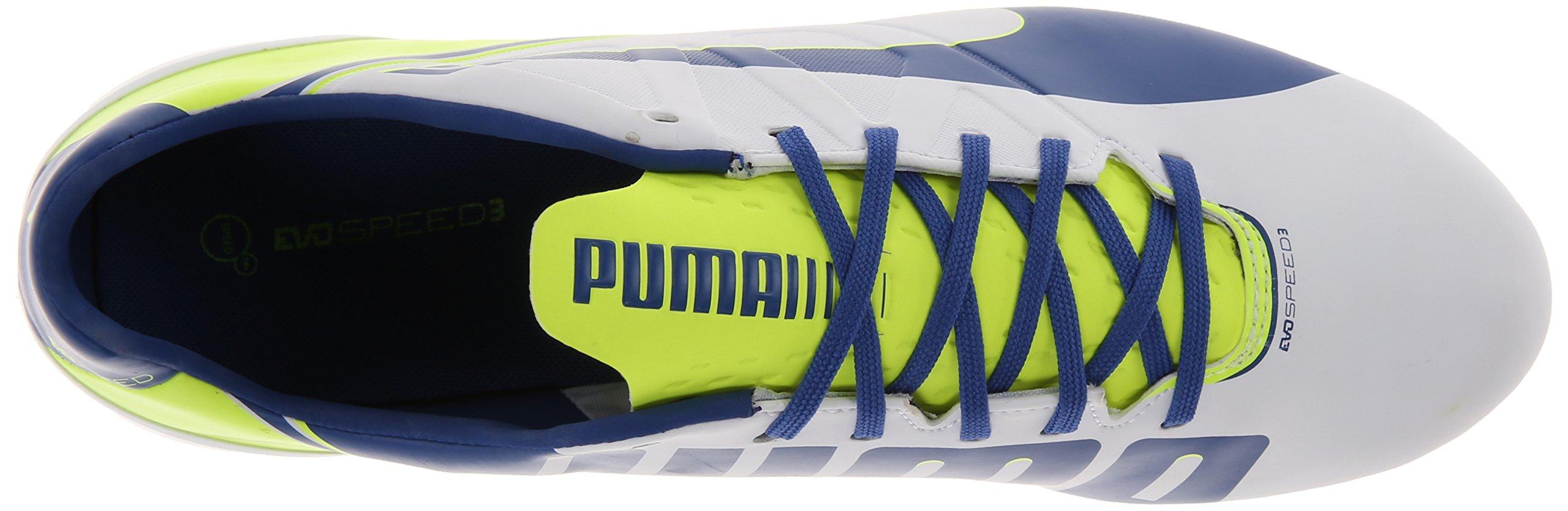 PUMA Women's Evo Speed 3.3 Firm Ground Soccer Shoe,White/Snorkel Blue/Fluorescent Yellow,8 B US by PUMA (Image #8)