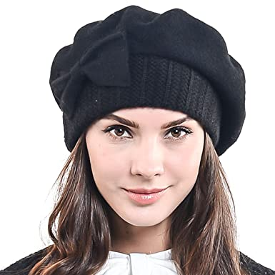 f3cc07d1 HISSHE Lady French Beret 100% Wool Beret Chic Beanie Winter Hat HY022  (Black)