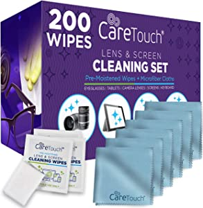Care Touch Lens Cleaning Wipes with Microfiber Cloths | 200 Lens Cleaning Wipes and 6 Microfiber Cloths | Excellent for Glasses, Laptops, Computer Screens, and Phones