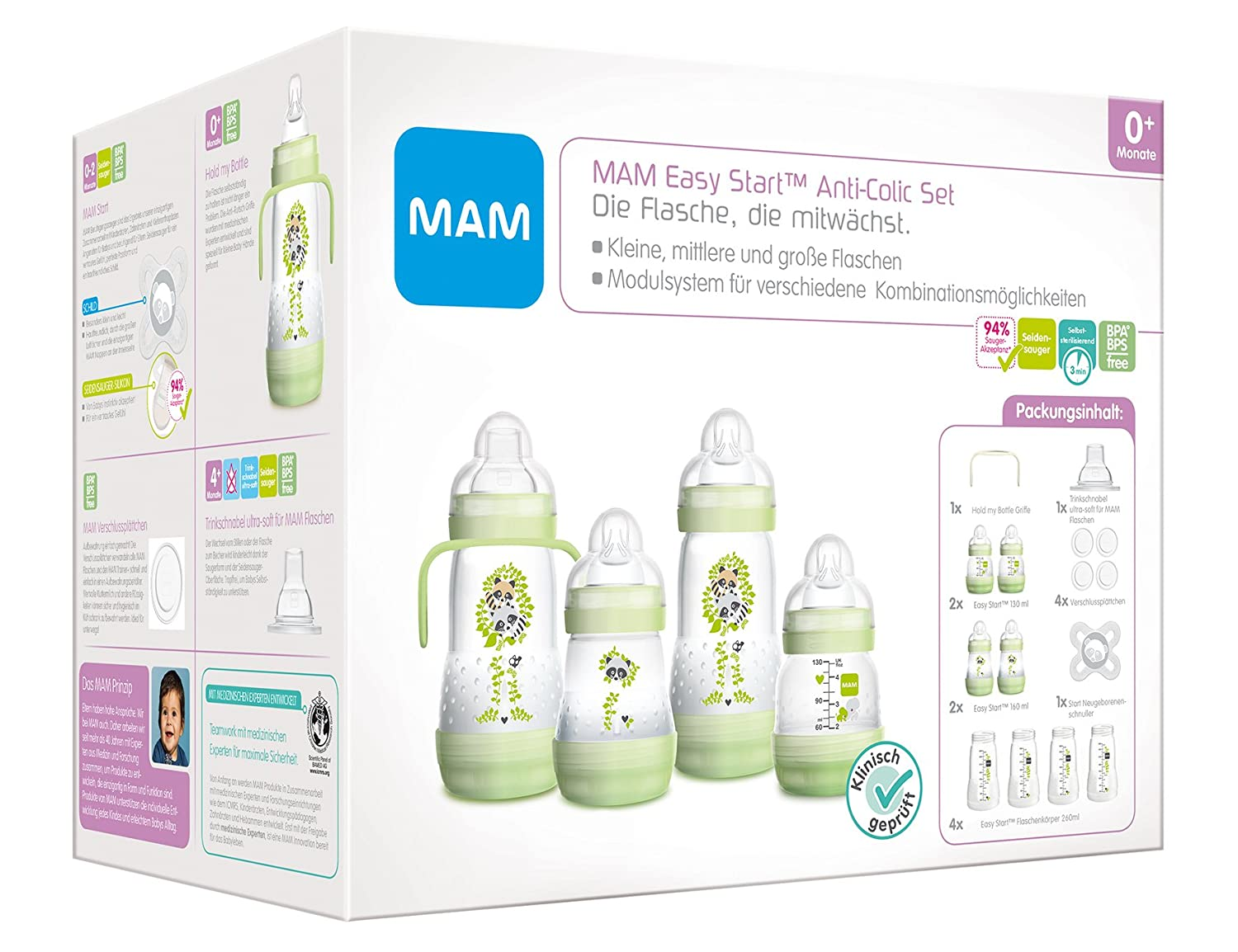 MAM Anti-Colic Self-Sterilising Bottle Starter Set (Green) BabyCentre 66298000