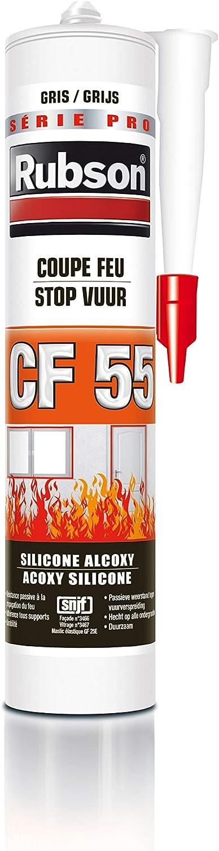 Rubson CF55 Gris, Masilla de silicona para cortafuegos, Masilla multimateriales, juntas de sellado de construcción, juntas de acabado y calafateado, cartucho de 300 ml