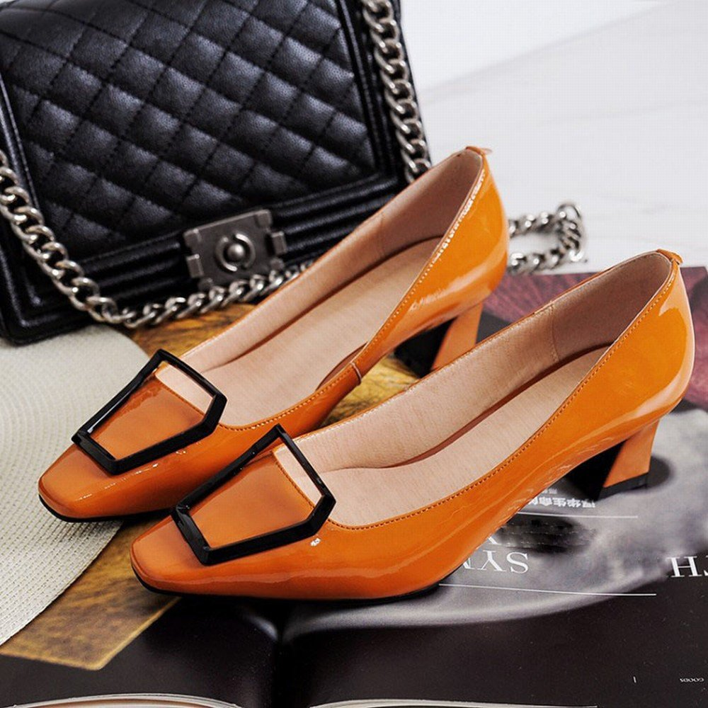 CXY Weiblicher Lederner Pferdeschuh des des des Einzelnen Schuhes mit Niedrigen Schuhen der Metallschnalle mit VieJahreszeiten Schuhen Rot 34 e4f6ec