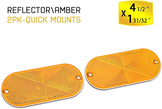 BSK 4.5 Amber Stick-On Oval Reflectors,2 Pack