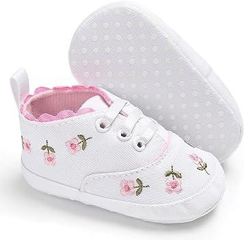 Fossen Bebe Zapatos Recien Nacido Niña Primeros Pasos Bordado Floral Antideslizante Suela Blanda Zapatos