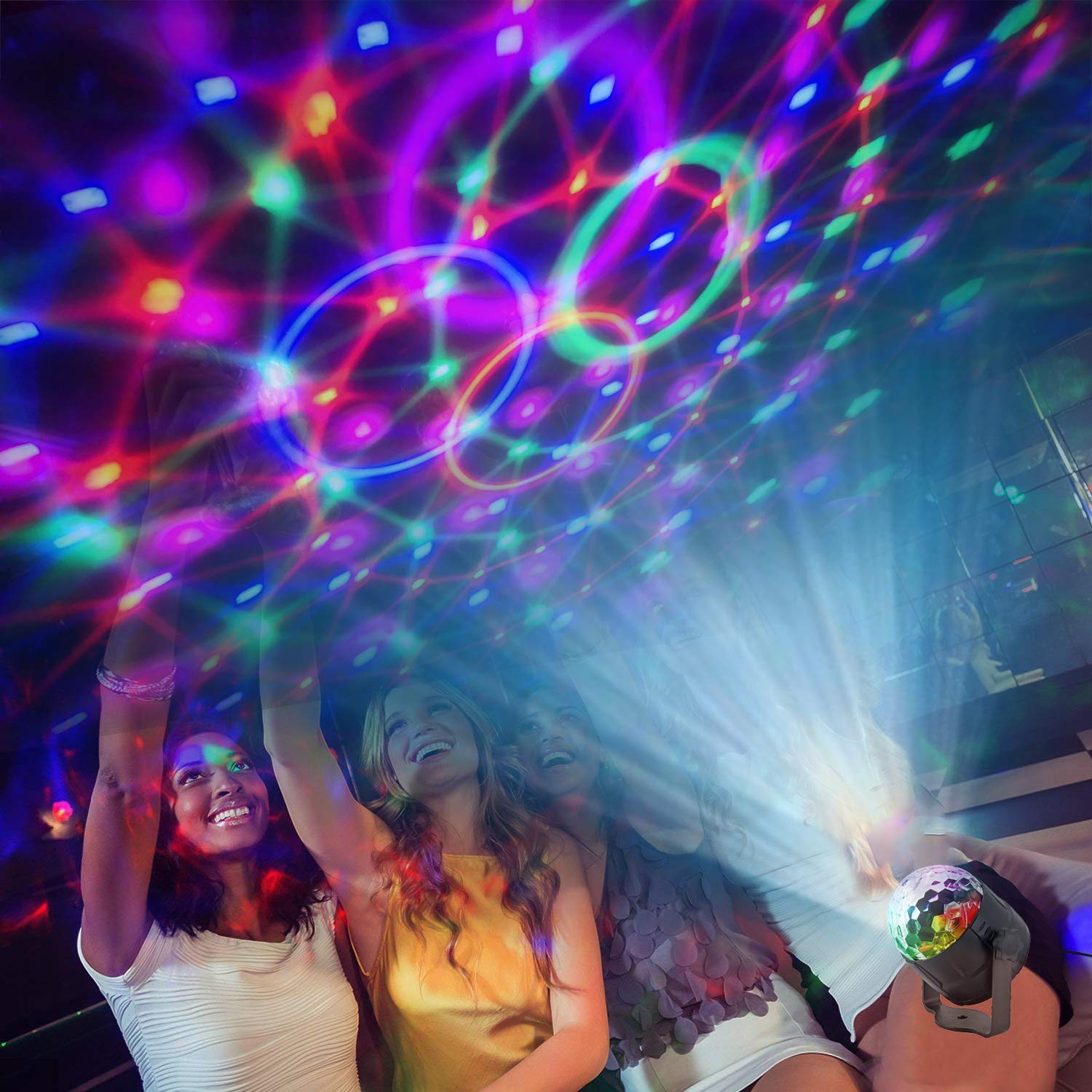 Disco Lights 15 Circle AVEKI Disco Ball Stage Lights 15 Color Modes Magic Ball Lamp Rotating Party Light Stage Crystal Lamp Sound Activated Remote Control for Holidays Party KTV Bar Xmas