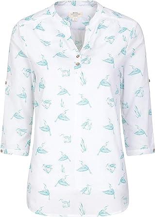 Mountain Warehouse Petra imprimió 3/4 Tapa del Verano del algodón de la Camisa -100% de la Manga de Las Mujeres, Camisa Ligera de Las señoras, Breathable, Blusa Floral: Amazon.es: Ropa y accesorios