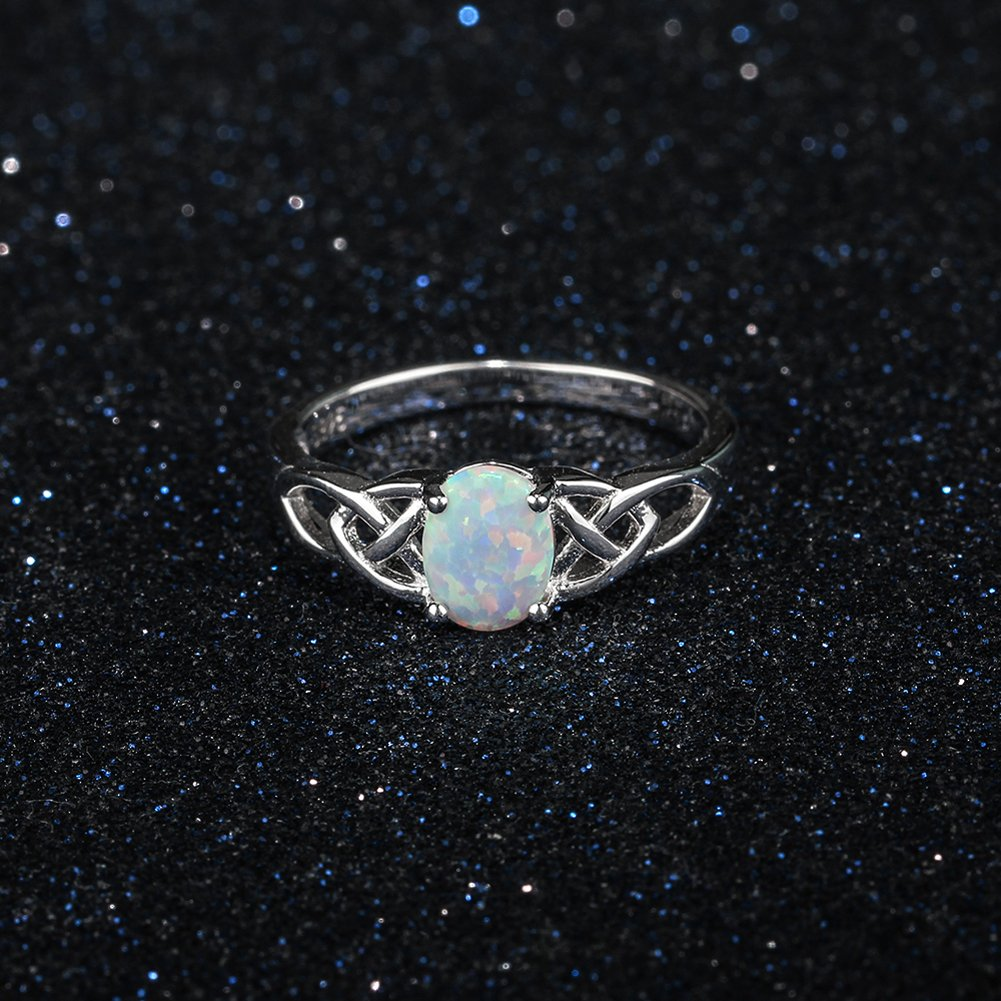 Furious Jewelry 925 Sterling Silver Oval Created Opal Trinity Celtic Knot Band Ring, Size 6 7 8 (7) by Furious Jewelry (Image #4)