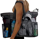 """Extra Large Beach Bags and Totes / 30"""" XXL Mesh Tote Bag with Pockets & Zipper, Heavy Duty, Lightweight & Foldable - Oversize"""