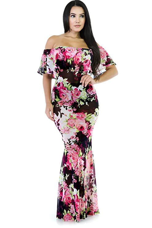 b5a18ec228a7 Jessie Floral Mesh Long Maxi Dress at Amazon Women's Clothing store: