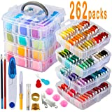 262 Pack Embroidery Thread Floss Set Including 200 Colors 8 M/Pcs Cross Stitch Sewing Thread with Floss Bins and 62 Pcs…