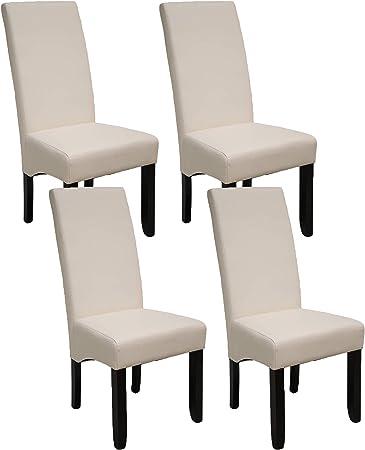 Pack de 4 sillas Osaka Blancas de salón Comedor de Polipiel Blanco ...