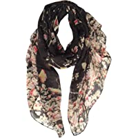 GERINLY - Lightweight Floral Birds Print Shawl Scarf For Spring Season