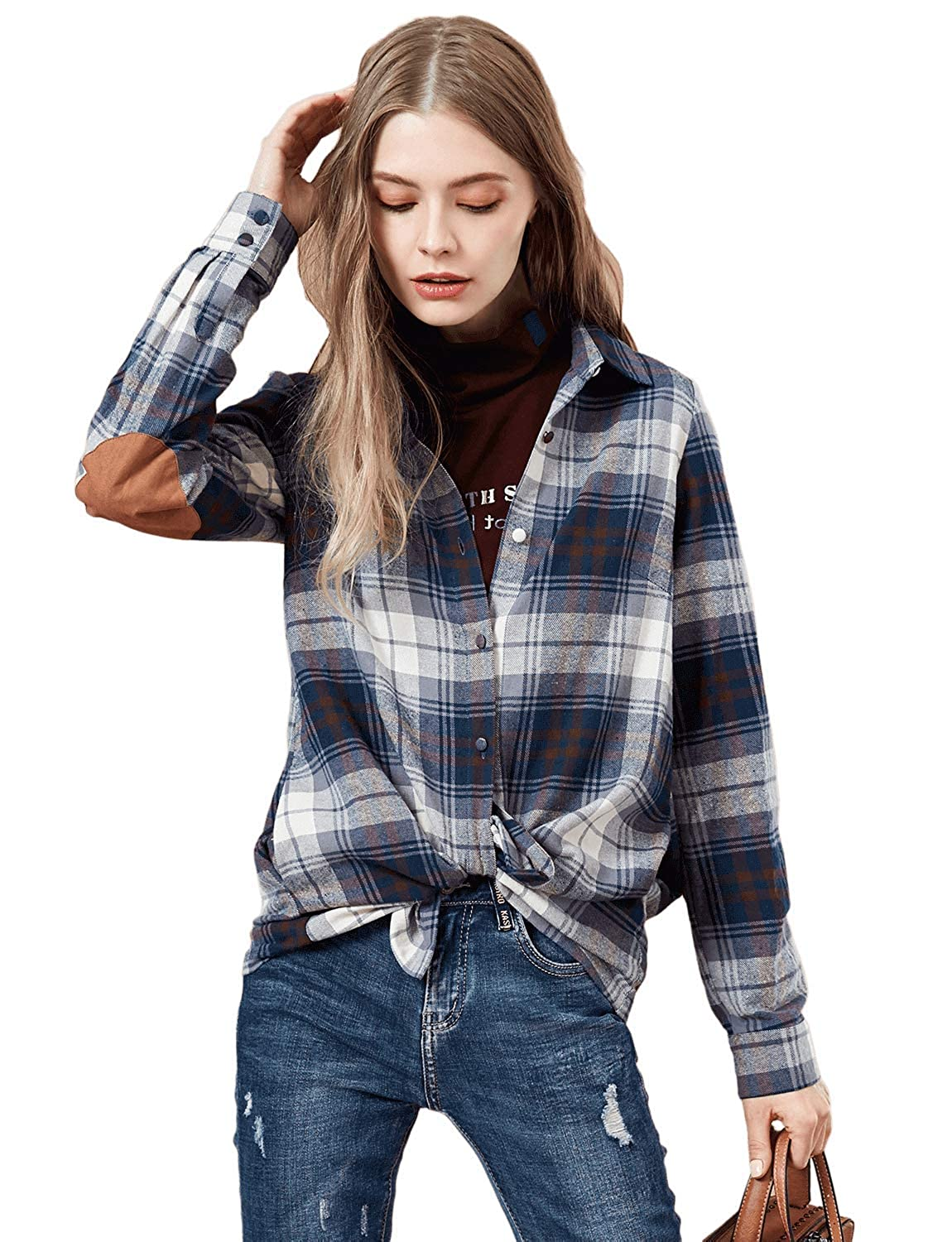Artka Women's Patchwork Plaid Shirt Long Sleeve Regular Fit All Match Tops Multicolored