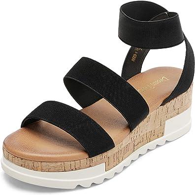 Amazon.com | DREAM PAIRS Women's Open Toe Ankle Strap Casual Flatform Platform  Sandals | Platforms & Wedges