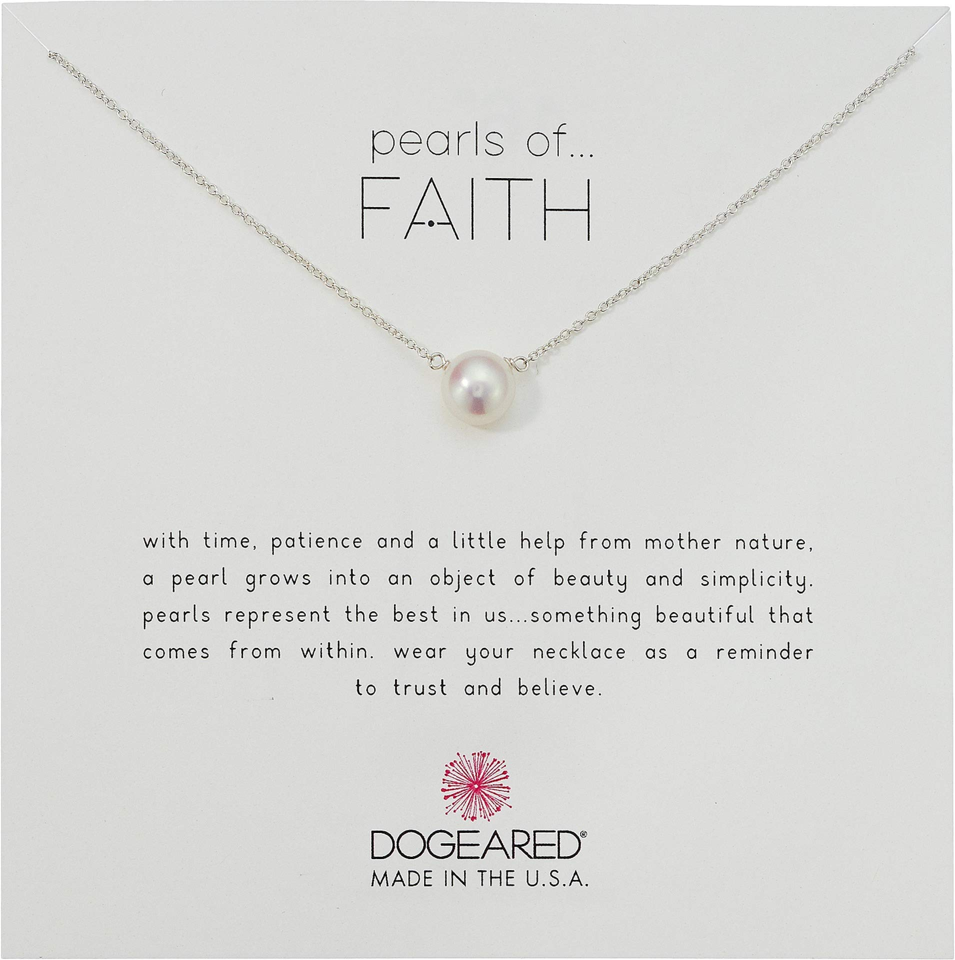 Dogeared Pearls Of Faith Large Button Necklace, Sterling Silver, 16'' + 2'' Extension