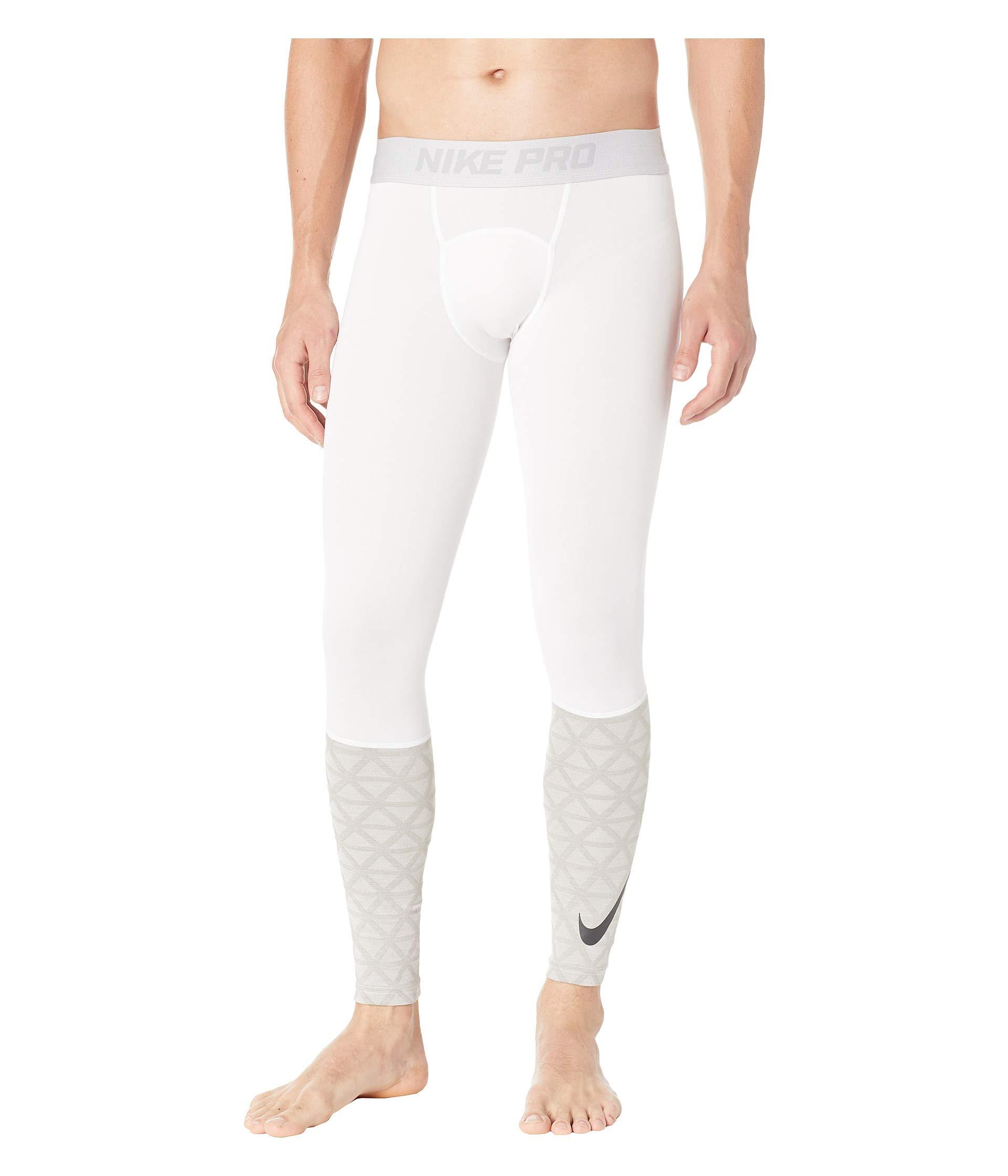 Nike Men's Pro Tight Training Pants (Small, White/Cool Grey)