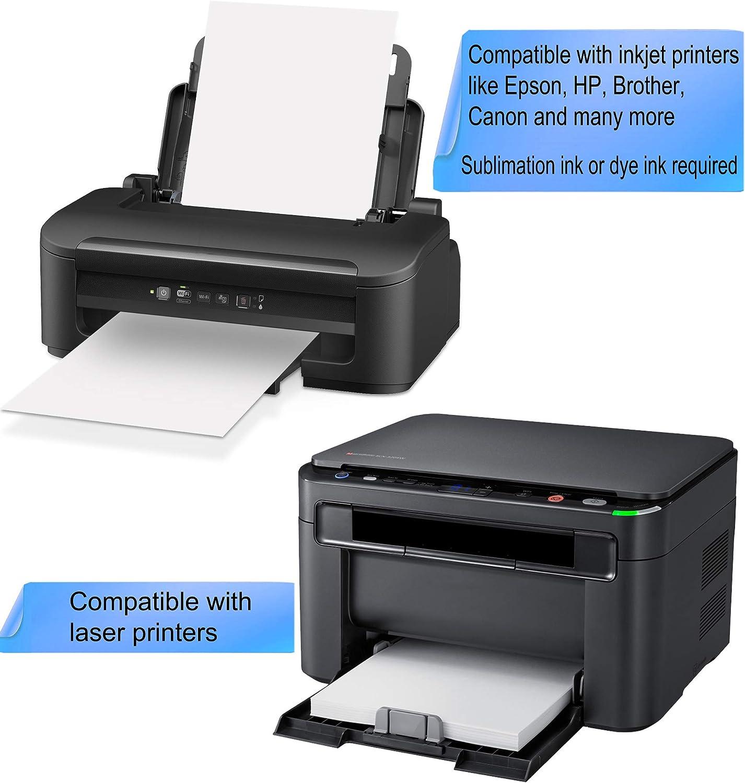 HIRALIY Printable Heat Transfer Paper Vinyl for Inkjet /& Laser Printers for Dark /& Light Fabric 20-Sheet Iron-on 8.3x11.7 Paper Bundle with Teflon Sheet Heat Tape /& Scraper