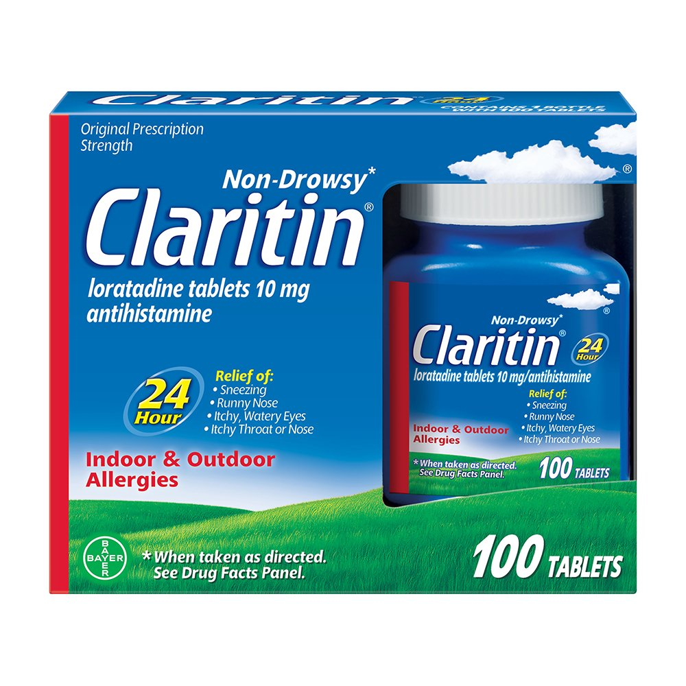 Claritin 24 Hour, Allergy Tablet, 100 Count, Loratadine 10mg, All Day and Night Relief from Allergy Symptoms Including Sneezing, Runny Nose, Itchy Nose or Throat, Itchy, Watery Eyes by Claritin