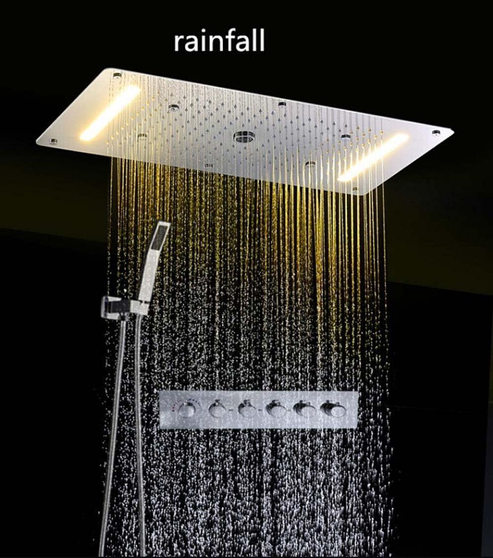 HM Combo para ducha con mezclador termostático, LED techo ...