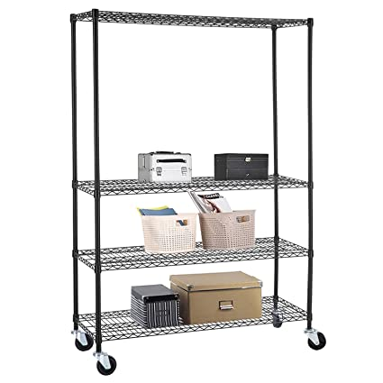 SUNCOO Wire Shelving Unit Storage Rack Metal Kitchen Shelf Stainless Steel  Adjustable 4 Tier Shelves Black