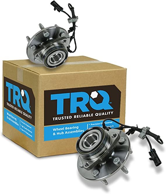 TRQ 2 Front Wheel Hubs & Bearings Pair Set w/ABS for Chevy GMC Truck 4X4 4WD