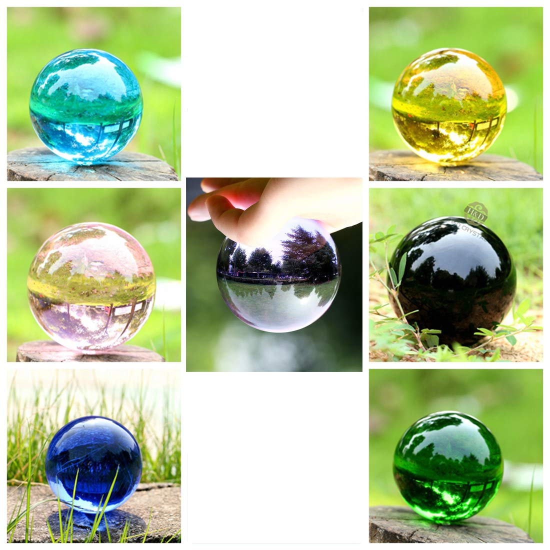 H&D Glass Ball for Photography Decoration, 50mm 7Pcs Crystal Sphere Ball with Stand,Magic Crystal Healing Ball