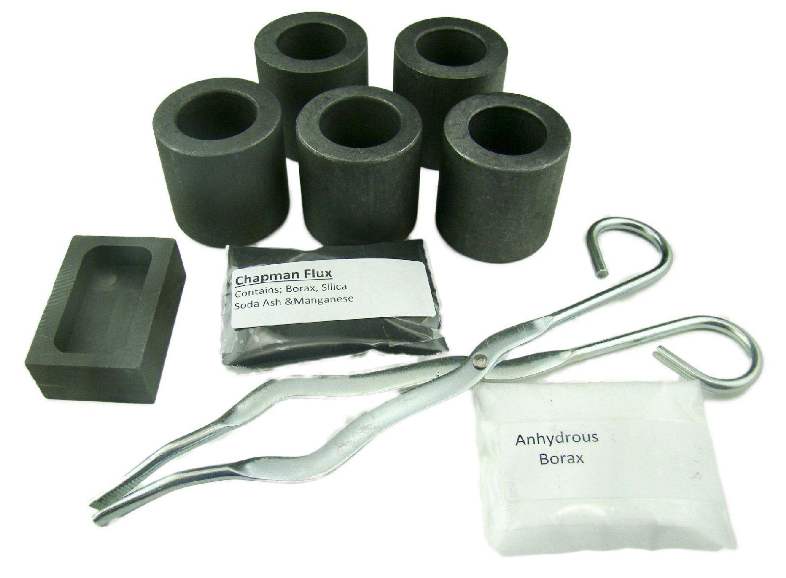 Gold & Silver Melting Kit - 5 Crucibles, Tongs, 5oz Mold, Chapman Flux, Borax-Gold Recovery-Melting-Smelting