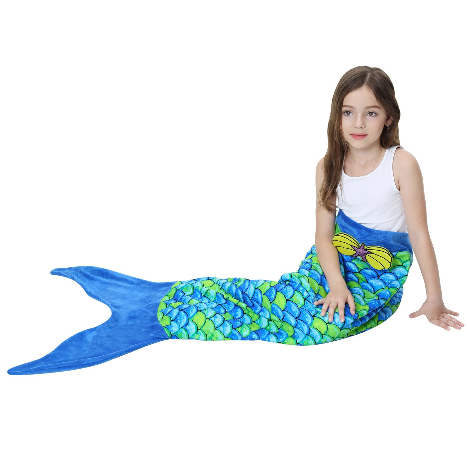 Adkinly Kids Polar Fleece Mermaid Tail Blanket Super Soft and Cute Sleeping Bag
