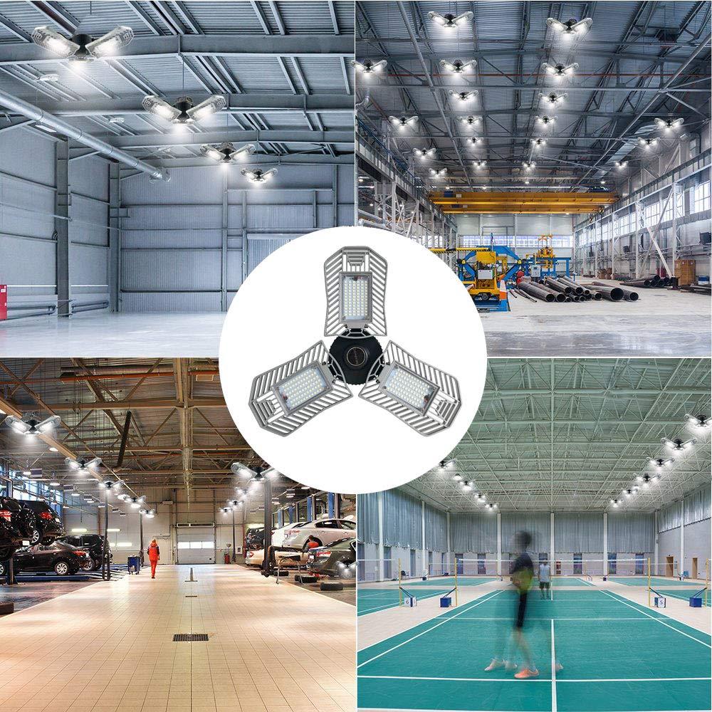 LED Garage Lights, 60W Adjustable Trilights LED Garage Ceiling Light Fixture, Low & High Bay Deformable LED Light Bulbs with 6000LM 6000K for Shops, Basement Home Indoor Lighting (300W-400W Equiv.)