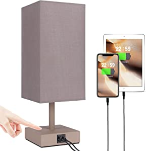 Touch Control Table Lamp, Dual USB Charging Ports, Bedside 3-Way Dimmable Brown Nightstand Lamps, Great Decor for Bedroom, Desk, Living Room (Bulb Included)