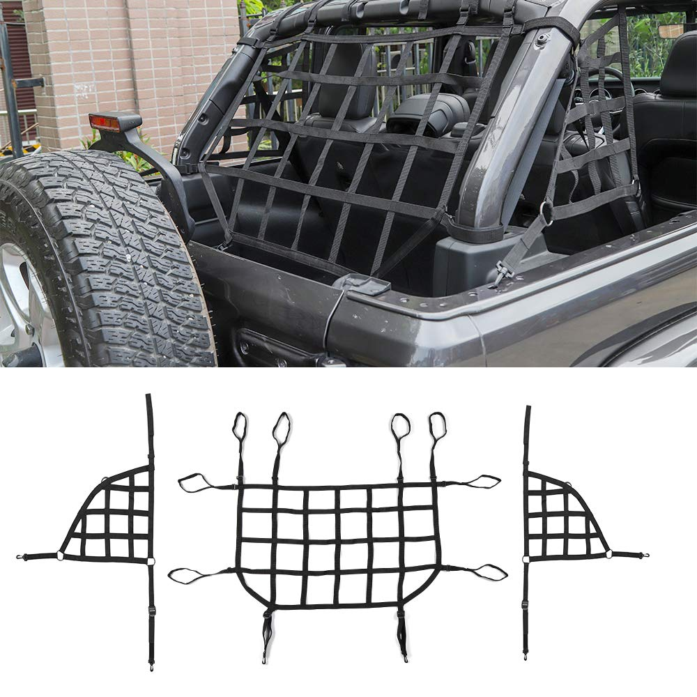 JeCar Bungee Cargo Net 4 x 6 Heavy Duty Mesh Net Stretch to 8 x 12 with 12pcs Aluminum Carabiners Universal for Rooftop Cargo Rack /& Small Trucks