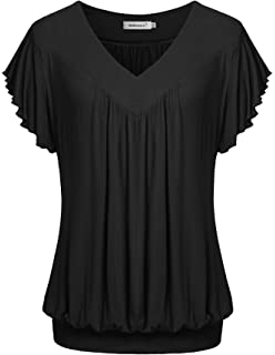 Amazon Com Jazzco Women S V Neck Short Sleeve Banded Bottom Blouse