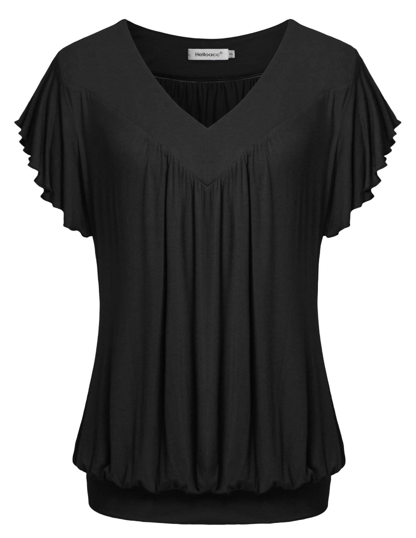 Helloacc Women Short Sleeve Tops,Summer V Neck Tees Comfy Pleated Relaxed Fit Shirts Stylish Office Airy Blouses Black M