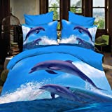 Alicemall Blue 3D Bedding Set Twin Dolphins Jumping out of Blue Ocean Polyester 4 Piece 3D Duvet Cover Sets for Dolphin Lovers, Duvet Cover, Flat Sheet and 2 Pillow Cases, No Comforter (Twin-10938041)