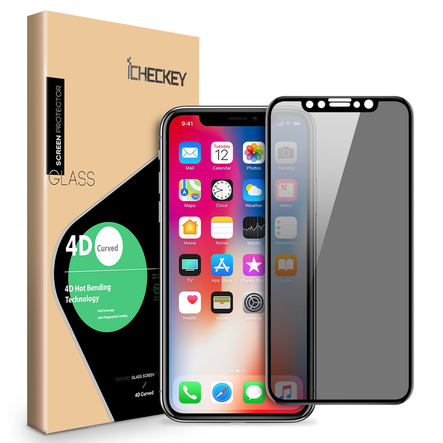 iPhone X Privacy Screen Protector - ICHECKEY 4D Curved Anti-Spy Anti-Peep Full Coverage Tempered Glass Screen Cover Shield for Apple iPhone X/iPhone 10, 5.8 Inch – Black
