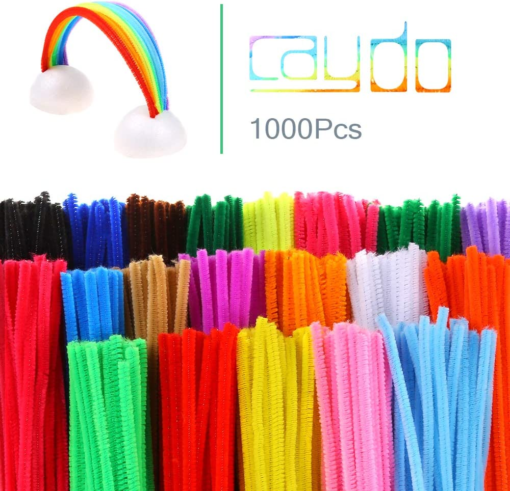 Caydo 1000 Pieces 20 Colors Pipe Cleaners Chenille Stems for DIY Art Creative Christmas Crafts Decorations 6 mm x 12 inch
