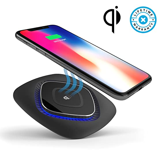 pretty nice c2a26 2906a Qi Certified Wireless Charger Pad for iPhone X, 8, 8 Plus Fast Charge for  Samsung, ChargeWAVE (Universally Compatible with All Qi Enabled & Samsung  ...