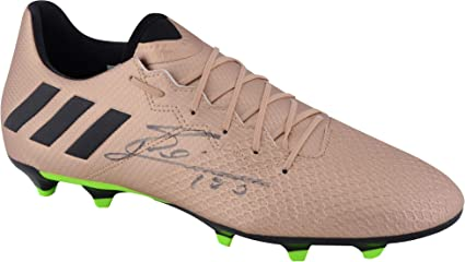 b582c72df Image Unavailable. Image not available for. Color  Lionel Messi Barcelona  Autographed Gold Adidas 16.3 Cleat ...