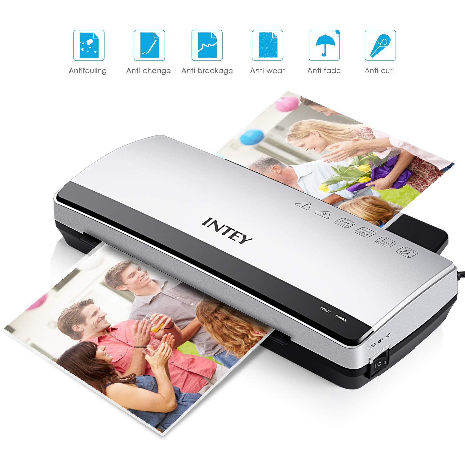 INTEY A4 Laminator, Thermal film and cold laminating for Quick Warm-up Speed include 10 Laminating Pouches NY-BG01