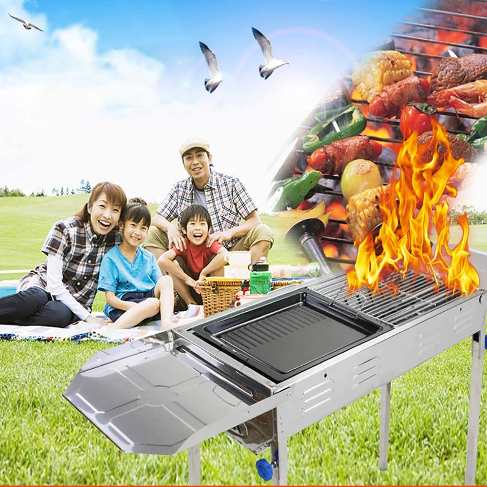 CHUIX Barbecue Au Charbon Barbecue en Plein Air, Barbecue Au Charbon Barbecue Pro, L'outil BBQ Set, Portable Pliable, Convient pour 5-10 Personne,Noir Silver