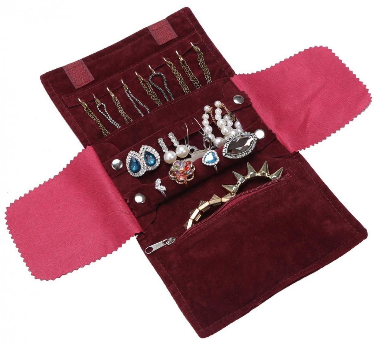 WODISON de lujo de la joyer/ía de terciopelo portable ruede para arriba la caja del organizador del bolso para el recorrido 2 piezas de vino tinto